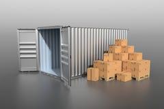 Sikt för sida för skepplastbehållare med kartonger Arkivfoton