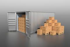 Sikt för sida för skepplastbehållare med kartonger Royaltyfria Foton