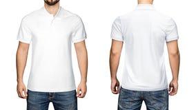 Sikt för skjorta för polo för manblanko vit, framdel- och baksida, vit bakgrund Planlägg den poloskjortan, mallen och modellen fö royaltyfri bild