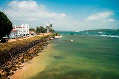 Sikt för solig dag på den Galle fyren Sri Lanka Arkivbilder