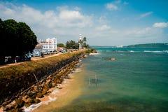 Sikt för solig dag på den Galle fyren Sri Lanka Royaltyfri Foto