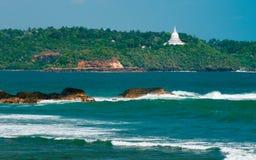 Sikt för solig dag på den Galle fyren Sri Lanka Royaltyfria Bilder