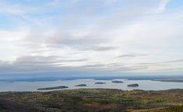 sikt för solnedgång för berg för stångcadillac hamn Royaltyfri Bild
