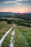 Sikt för solnedgång för landskapbildsommar över engelsk bygd Arkivbilder