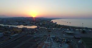 Sikt för solnedgångsurrstad stock video