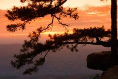 sikt för soluppgång för nationalparkphukradungpunkt Royaltyfria Bilder