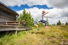 Sikt för sommarnatursida av barn, i att hoppa för mitt- luft av en farstubrolandning på gräskullen fotografering för bildbyråer