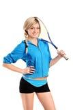 sikt för squash för kvinnligspelare posera Royaltyfria Bilder