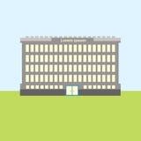 Sikt för stad för skolabyggnadsgods yttre vektor illustrationer