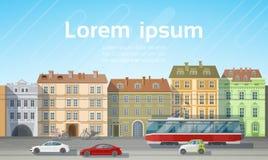 Sikt för stadsbyggnadshus med utrymme för kopia för horisont för bakgrund för transport för bilvägspårvagn royaltyfri illustrationer
