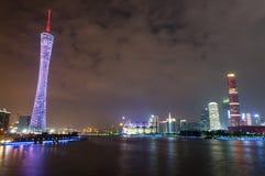 sikt för stadsguangzhou natt arkivbild