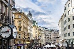 Sikt för stadsmitt av Graben, Wien Österrike arkivfoto
