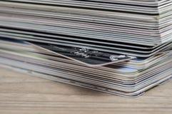 sikt för stapel för narrow för makro för kortkrediteringsfokus royaltyfri fotografi