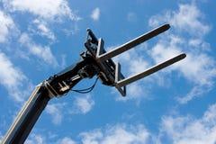 sikt för svarta gafflar för aga hydraulisk lyftande Fotografering för Bildbyråer