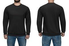 Sikt för sweater, för framdel och för baksida för manblankosvart, vit bakgrund Planlägg tröjan, mallen och modellen för tryck royaltyfri fotografi