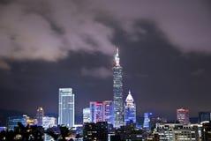 Sikt för Taipei stadsnatt Arkivbilder