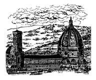 Sikt för teckningsbakgrundslandskap av duomoen, domkyrkan av Santa Maria del Fiore i Florence, sk Arkivbilder