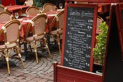 sikt för terrass för kaffestrasbourg gata Royaltyfria Bilder