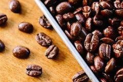 Sikt för textur för kaffeböna en övre Arkivfoto