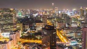 Sikt för Tid schackningsperiod av Bangkok horisont på natten thailand lager videofilmer