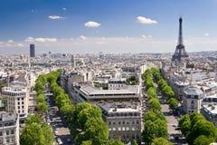 sikt för triomphe för bågde paris Arkivfoton