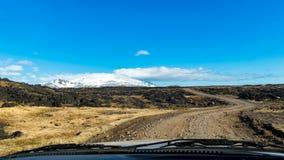sikt för tur för väg 4x4 på den Snaefellsnes halvön Island Arkivfoto