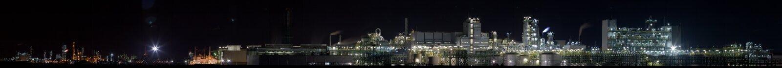 sikt för växt för natt för 3 kemikalie panorama- Royaltyfria Foton