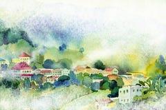 Sikt för vattenfärgmålningby på kulleberget royaltyfri illustrationer