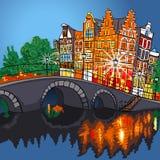 Sikt för vektornattstad av den Amsterdam kanalen och bron Arkivbild
