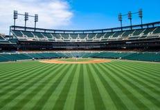 Sikt för ytterfält för baseballstadion Arkivfoton