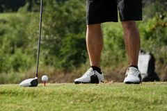 Sikt f?r l?g vinkel av golfaren p? s?ttande gr?splan omkring som tar skottet arkivbilder