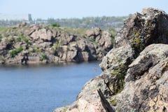 Sikt från ön av Khortytsya Royaltyfria Foton