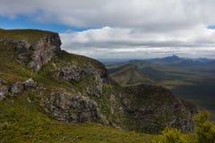 Sikt från överkant av den rättframa runda kullen, Stirling Ranges, WA Royaltyfria Foton
