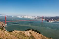 Sikt från överkanten av berget över San Francisco Bay Arkivfoto