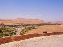 Sikt från Ait Benhaddou, Marocko Arkivbild