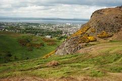 Sikt från Arthurs Seat, Edinburg Fotografering för Bildbyråer