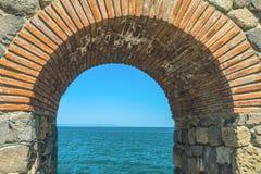 Sikt från bågen till Blacket Sea i Sozopol, Bulgarien Fotografering för Bildbyråer