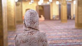 Sikt från baksidan på nunnan som går på inom den islamiska moskén Kvinna egypt arkivfilmer