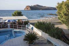 Sikt från balkong av den Agia marina, Kreta Royaltyfria Bilder