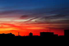 Sikt från balkongen på solnedgången Royaltyfri Fotografi