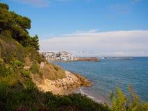 Sikt från bana till Roc de Sant Gaieta Fotografering för Bildbyråer