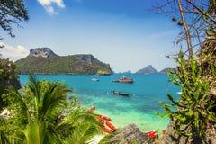 Sikt från berget på Angthong Marine National Royaltyfri Foto