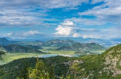 Sikt från berget på Skadar sjön Royaltyfri Fotografi