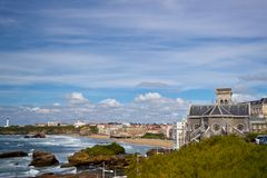 Sikt från Biarritz Arkivfoto