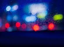 Sikt från bilen i regnig natt Royaltyfria Foton
