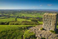 Sikt från Brentrund kulle Somerset till Quantock kullar Arkivfoto