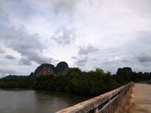 Sikt från bron över floden och bergen royaltyfri bild