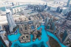 Sikt från Burj Khalifa Dubai Arkivbild