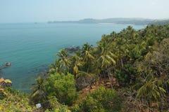 Sikt från Cabo De Rama Fort. Goa Indien Arkivbild