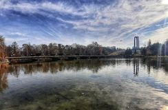 Sikt från Carol Park Bucharest fotografering för bildbyråer